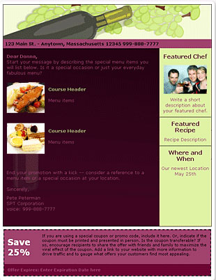 Email Blast Template for Wine & Dine Restaurant